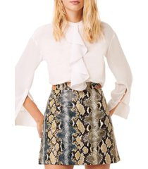 french connection elias reptile printed leather mini skirt