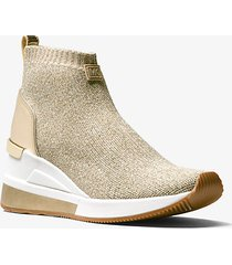 mk sneaker alta skyler in maglia metallica - argento/oro (argento) - michael kors