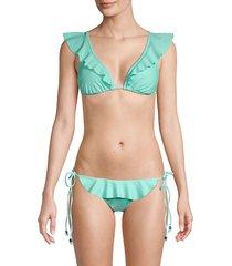 shoshanna women's ruffled string bikini top - aquamarine - size a/b (s)