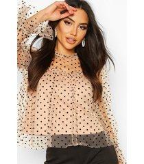 premium dobby mesh ruffle blouse, stone