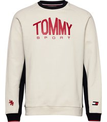 blocked fleece logo crew sweat-shirt tröja creme tommy sport