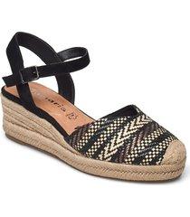 woms sling back sandalette med klack espadrilles svart tamaris