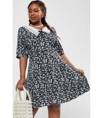 plus size ditsy print flat collar a line dress