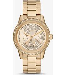 mk orologio ritz oversize tonalità oro con logo e pavé - oro (oro) - michael kors