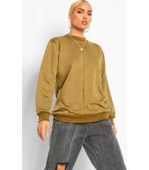 oversized sweater met crewneck en stiksels, khaki
