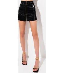 akira it girl status liquid velvet mini skirt
