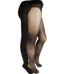 stems women's 2-pack sheer & opaque tights - black - size l