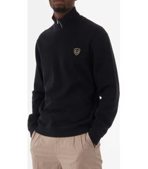 fred perry shield zip-neck sweatshirt - navy m5582-608