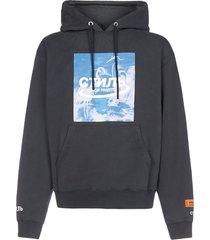 heron preston print cotton hoodie