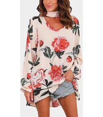 apricot sexy flower print choker neck long sleeves blouse