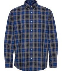 d1.melange herringbon check reg bd overhemd casual blauw gant