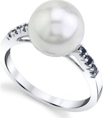 cultured freshwater pearl (10mm) & black diamond (1/8 ct. t.w.) ring in 14k white gold