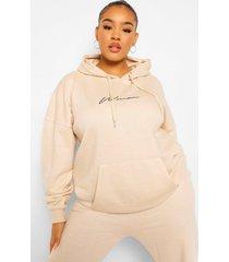 plus woman geborduurde hoodie met tekst, sand