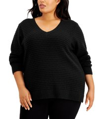 calvin klein plus size textured v-neck sweater