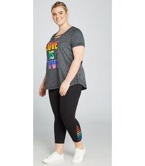 lane bryant women's livi capri power legging - rainbow strappy inset 14/16 black