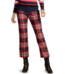 trina turk women's pass the wine plaid pants - size 10