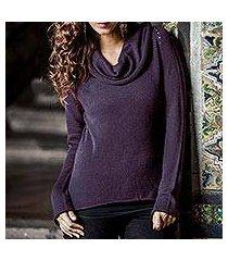 cotton and alpaca sweater, 'purple warmth' (peru)