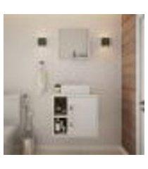 conjunto para banheiro gabinete com cuba q32 e espelheira soft 500 snow com branco