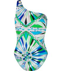 emilio pucci bes print one-shoulder swimsuit - green