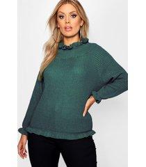 plus ruffle neck oversized sweater, green