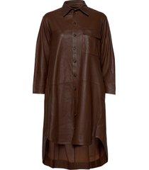 chili thin leather dress kort klänning brun mdk / munderingskompagniet