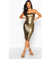 metallic bandeau midi dress, gold