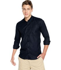 camisa los caballeros cuello neru manga larga azul oscura media pechera interna en contraste