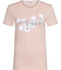 camiseta slim con logo floral rosa calvin klein