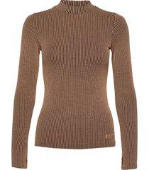wool rib long sleeve gebreide trui beige casall