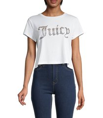 juicy couture women's embellished logo cropped t-shirt - bleached wash - size xs