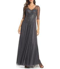 women's la femme waterfall embellished gown, size 18 - grey