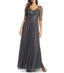 women's la femme waterfall embellished gown, size 18 - grey