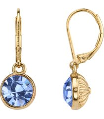2028 14k gold-dipped lt. sapphire blue faceted drop earrings