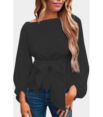 blusas de manga larga con cuello redondo y diseño de bowknot negro