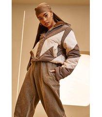 korte gewatteerde colour block jas met capuchon, charcoal