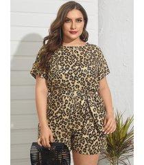 plus size crew cuello leopard cut out cinturón diseño mono corto de manga corta