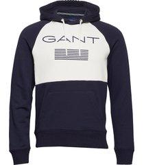 d1. gant stripe sweat hoodie hoodie trui blauw gant