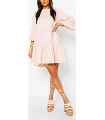 gingham frill sleeve tiered smock dress, light pink