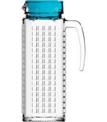 jarra de vidro sture móveis ladrilhos com tampa azul para suco 1,2 litros