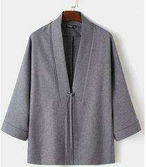 cárdigan kimono anudado liso casual otoño invierno para hombre