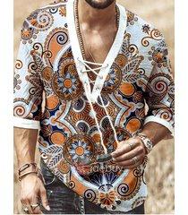 hombres summer holiday tribal all over print personalidad de la moda con cuello en v con cordones camiseta