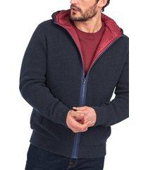men's barbour adriatic zip hoodie, size small - blue