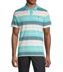 original penguin men's multicolored striped polo - tanager turquoise - size l
