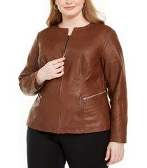 alfani plus size faux leather zipper jacket, created for macy's