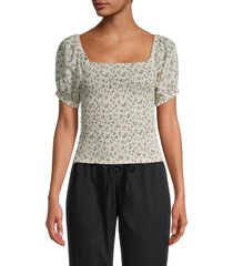 lucca women's harmonia smocked puff-sleeve top - ivory floral - size l