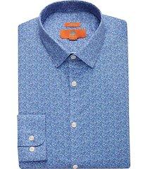 egara orange men's blue floral extreme slim fit dress shirt - size: 17 34/35