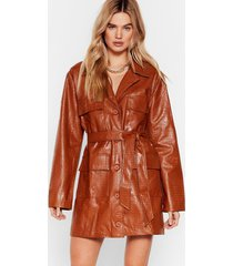 womens life on mars faux leather croc dress - tan