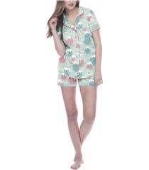 munki munki women's yarn kitties short sleeve classic pajama set