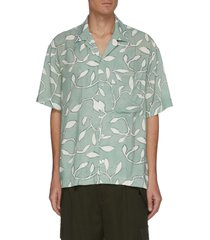 'la chemise jean' all-over leaf graphic print bowling shirt