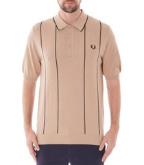 fred perry vertical stripe knitted shirt - biscuit k6301-877